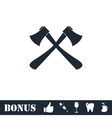 Lumberjack axes crossed icon flat vector image vector image