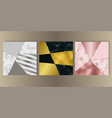 luxury marble cover set with geometric elements vector image