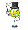magician traffic sign isolated on the mascot vector image