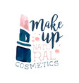 make up natural cosmetic logo label for beauty vector image vector image