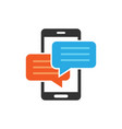 mobile phone chat sign icon in flat style message vector image