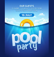 pool beach summer party invitation banner flyer vector image