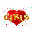 red heart girls balloons celebrating at party vector image vector image