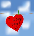 red heart with i love you inscription vector image vector image