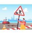 roadwork and asphalt paving concept worker man vector image