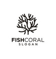 sea coral and fish logo black silhouette isolated vector image vector image