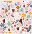 seamless pattern with cute colibri birds and vector image vector image
