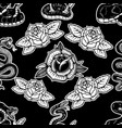 seamless pattern with snakes and roses design vector image vector image