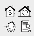 set graphic liner flat icons design vector image