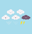 set of clouds with different emotions vector image