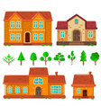 set of houses in flat style design element for vector image vector image