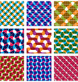 Set of multicolored grate seamless patterns with vector image vector image