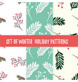 set of winter holiday patterns can be used for vector image vector image