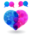 speech bubbles heart vector image vector image