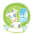 sweet cow with milk vector image