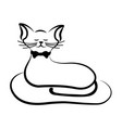 the cat is outlined in black vector image
