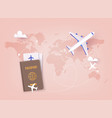 traveling on airplane planning a summer vacation vector image vector image