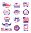 usa labels flag made america american states vector image