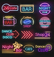 vintage cafe and night club roadside neon signs vector image vector image