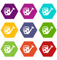 watering can icons set 9 vector image