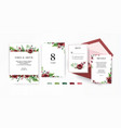 wedding invite invitation floral template set vector image vector image