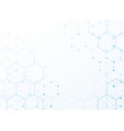 white background with blue tech hexagonal pattern vector image