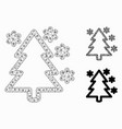 winter tree mesh network model and triangle vector image vector image