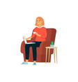 woman with laptop and cup sitting in chair cartoon vector image