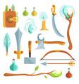 set of fantasy magic weapons vector image