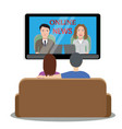 people watching news on tv vector image