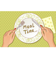 Fork and knife in hands vector image