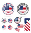 american flag in various poses set color vector image