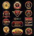 anniversary golden labels and badges 40 years vector image vector image
