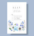 blue rsvp card vector image vector image