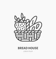 bread basket with loaf baguette and ears of wheat vector image vector image