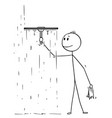 cartoon of man cleaning window with squeegee vector image