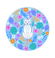 cat and flowers on white background vector image vector image
