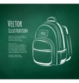 Chalkboard drawing of school bag vector image vector image