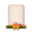 christmas gift card with wood background vector image vector image