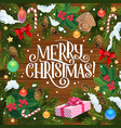 christmas wreath frame xmas gifts and presents vector image