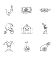 Circus chapiteau icons set outline style vector image vector image
