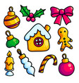colorful cartoon baubles and cookies vector image