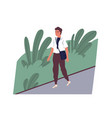cute smiling young man going to work happy male vector image vector image