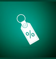 discount percent tag icon on green background vector image vector image