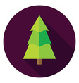 Flat Design Christmas Tree Circle Icon vector image vector image