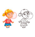 funny girl inflates a bubble of gum vector image vector image