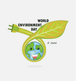 globe and leaf sign world environment day concept vector image