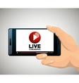 hand holding smartphone media player design vector image