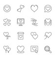heart outline icons set love linear vector image vector image