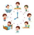 kids daily routine activities vector image vector image